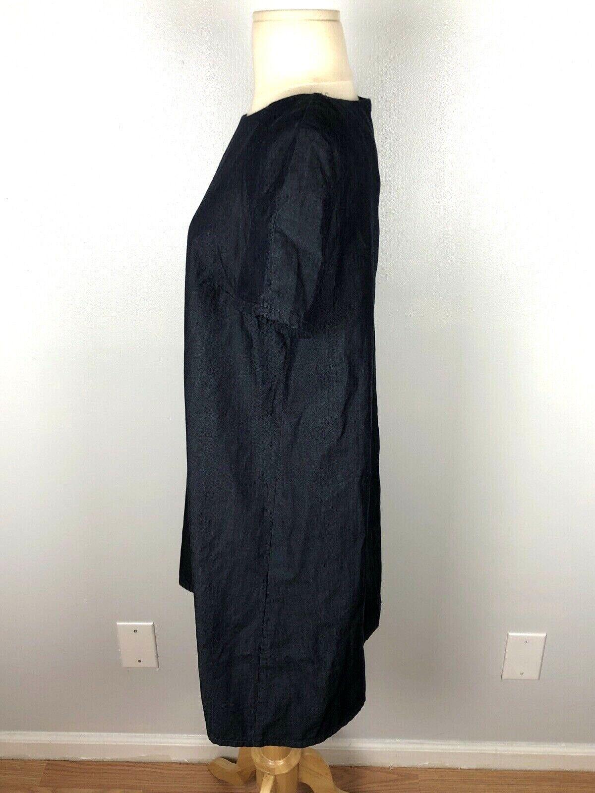 Zara Basic Denim Dark Wash Swing Dress, Size L - image 4