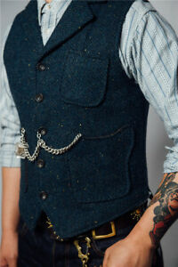 Mens-Vintage-Tweed-Vest-Business-Gentleman-Collared-Wool-Blend-Lapel-Waistcoat