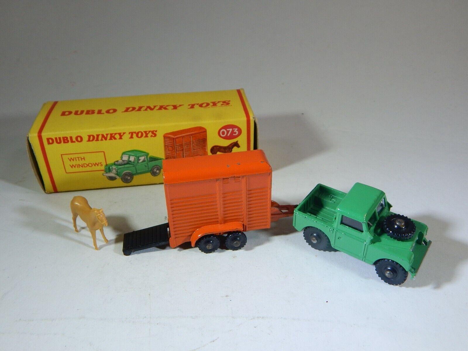 Dinky Toys Dublo 073 Land Rover and Horse Trailer Original Box