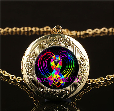 Autism Ribbon on Heart Glass Gold Plating Chain Locket Pendant Necklace