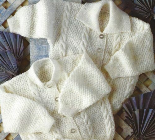 "Baby Cardigans 4ply Knitting Patterns 12-24/"" cables premature sizes 485"