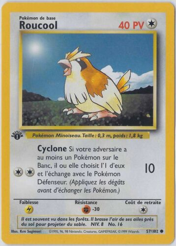 Get 35/% Off! ROUCOOL// PIDGEY 57//102 French Base ⎜1st Edition⎜ Common Mint Buy 4