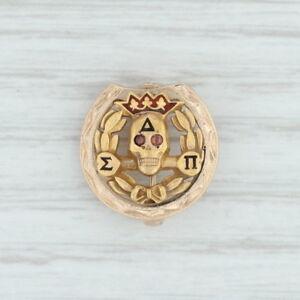 Delta-Sigma-Pi-Badge-10k-Yellow-Gold-Business-Fraternity-Skull-Pin