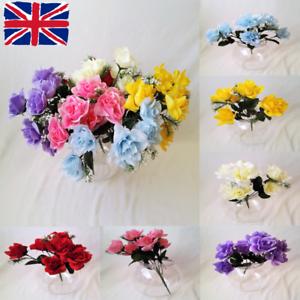 6 Head Artificial Flowers Bunch Wedding Home Grave Outdoor Bouquet Ebay