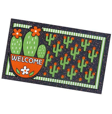 Zerbino Gomma 40x70 Antiscivolo Tappeto Asciugapassi Casa Cactus Welcome Verde