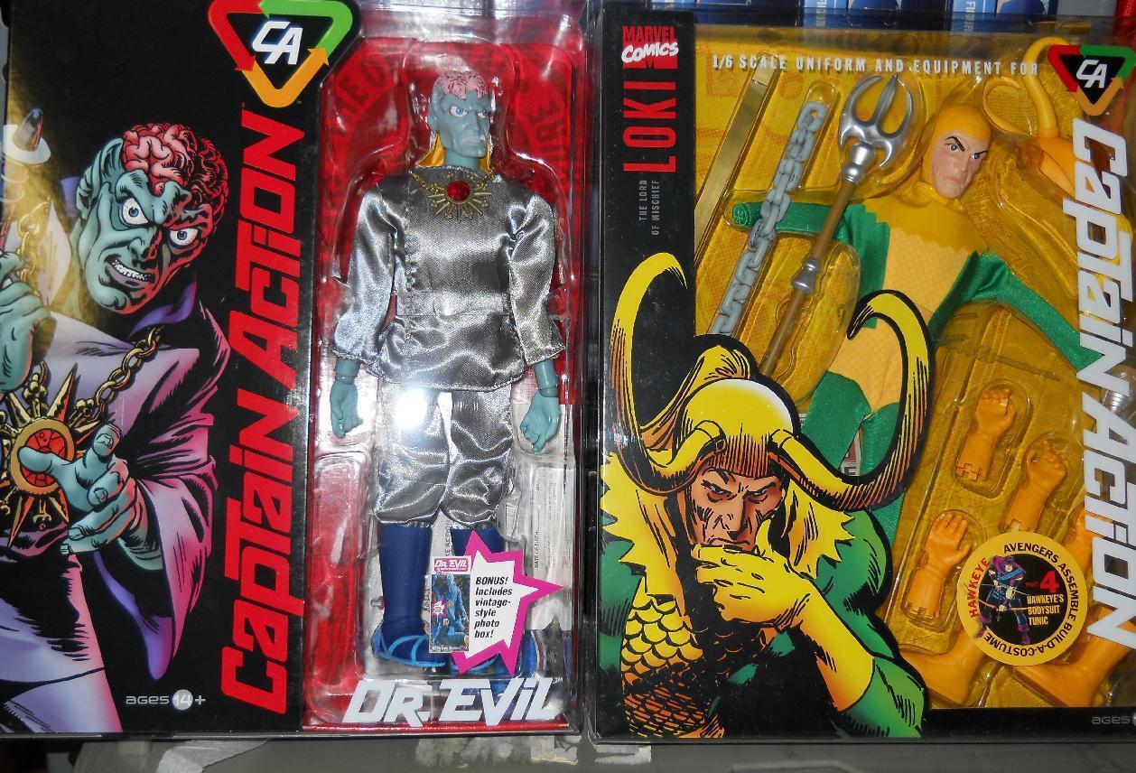 1 6 Round 2 Captain Action   Dr.Evil + THOR and LOKI uniforms LOT of 4 pcs