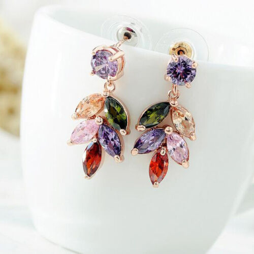 Rainbow Mulit Amethyst Morganite Garnet Peridot Rose Gold Plated Dangle Earrings