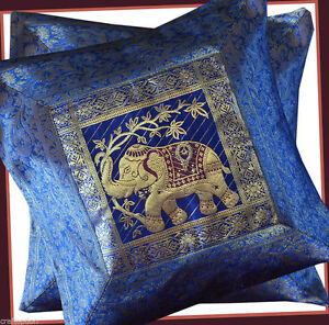 PAIR-TWO-OF-SILK-BROCADE-PILLOW-CUSHION-COVER-BLUE-COLOR-FROM-INDIA