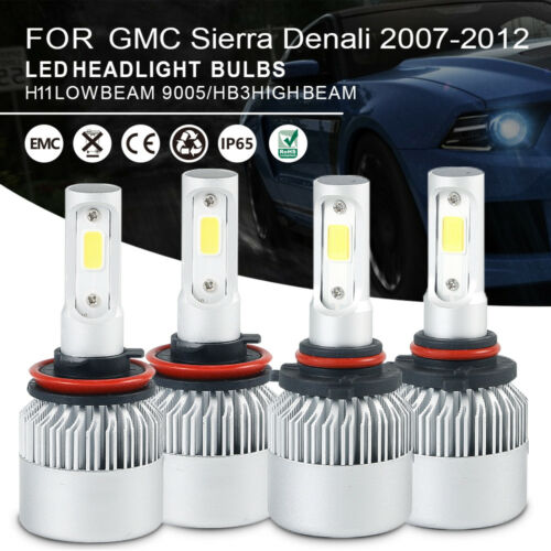 Car LED Headlight Bulbs 9005 H11 High Low Beam For GMC Sierra Denali 2007-2012