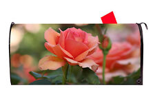 Pink Rose Bloom Vinyl Magnetic Mailbox Cover  Made in the USA