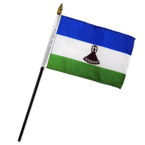"Lesotho 4/""x6/"" Flag Desk Table Stick"