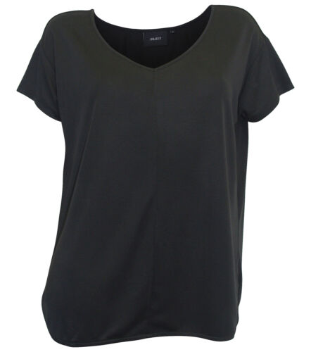 OBJECT Shirt S 36 schwarz Damen T-Shirt oversized Modal V-Neck neu