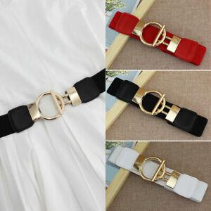 Woman-Belt-Dress-Decorate-Simple-Sleeve-Elastic-Girdle-Gold-Buckle-Wide-Belts