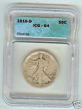 1916-D 50C Walking Liberty Half Dollar