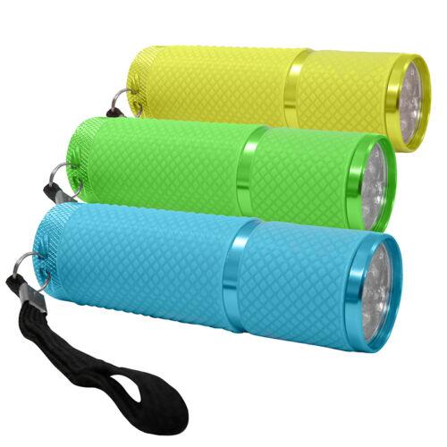 """9x lumineux LED Lampe de poche Flashlight avec 9 LED légèrement /""""brille dans le noir/"""" NEUF"""