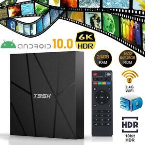 T95H 6K Android 10.0 Smart TV Box Quad Core UHD 2.4G WiFi Media Streamer Player