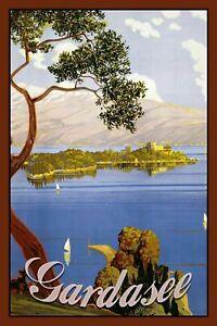 Lac-de-Garde-Italie-Pancarte-en-Tole-Signe-Metal-Voute-Etain-20-X-30-cm-CC0379