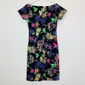 Ezra-Womens-Black-Floral-Short-Sleeve-Dress-with-Back-Zipper-Size-M
