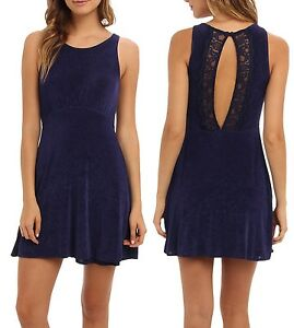 4823cc91a12 REDUCED Free People Navy Lady Jane Stretch Dress w Lace Accented ...
