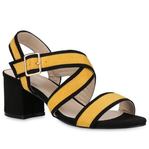 Damen Riemchensandaletten Basic Sandaletten Sommer Mid Heels 822290 Schuhe