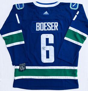 huge selection of 1d3de da738 Details about PSA/DNA Vancouver Canucks #6 BROCK BOESER Signed Autographed  Hockey Jersey