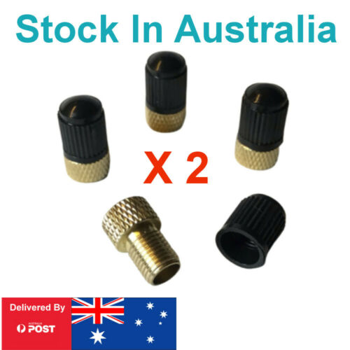 Presta Valve Brass Adapters to Schrader with Dust Caps for Bike Tyre Tires x 8