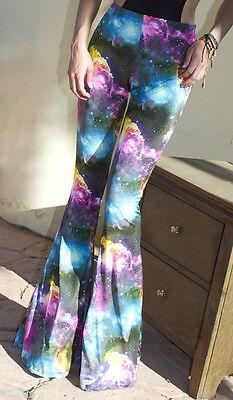 Galaxy Print Flare Leggings Pants Bohemian Bell Bottom Cosmos Stars