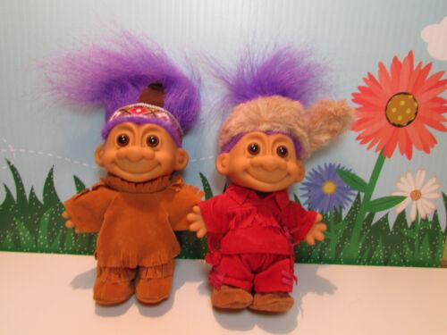 "5/"" Russ Troll Dolls Purple Hair NEW IN BAGS DANIEL BOONE /& HIS INDIAN SCOUT"
