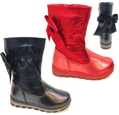 NEW KIDS MID CALF FASHION GIRLS WINTER WARM LOW HEEL WEDGE SNOW BOOTS SIZE 8-2