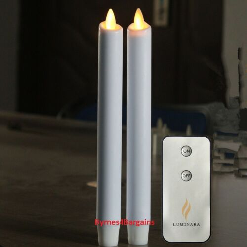 Luminara white Taper Candle 2 x 8 Inches pack of 2 unscented V2 UK seller