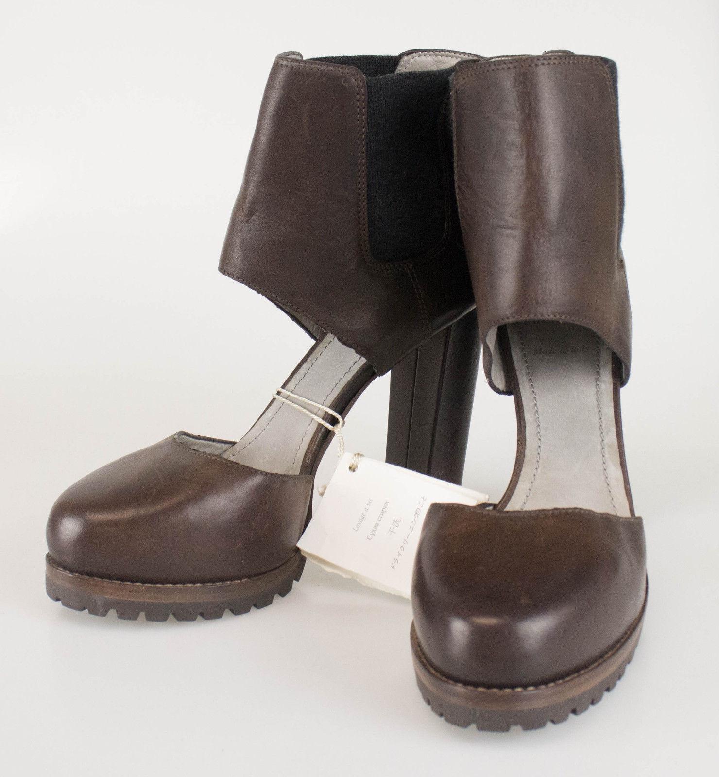 New. BRUNELLO CUCINELLI Brown Leather Platform Heels shoes Size 7 37