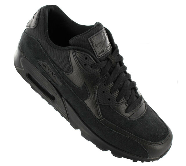 4f55c4ad4d62 Nike Air Max 90 Premium Mens 700155-012 Black Leather Running Shoes Size 11