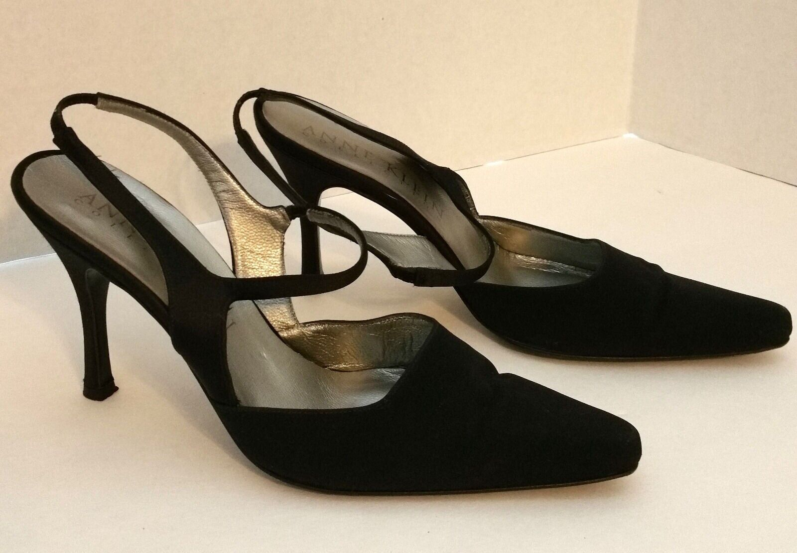 ANNE KLEIN Black Fabric Dressy Heels Slingbacks Shoes Size 7