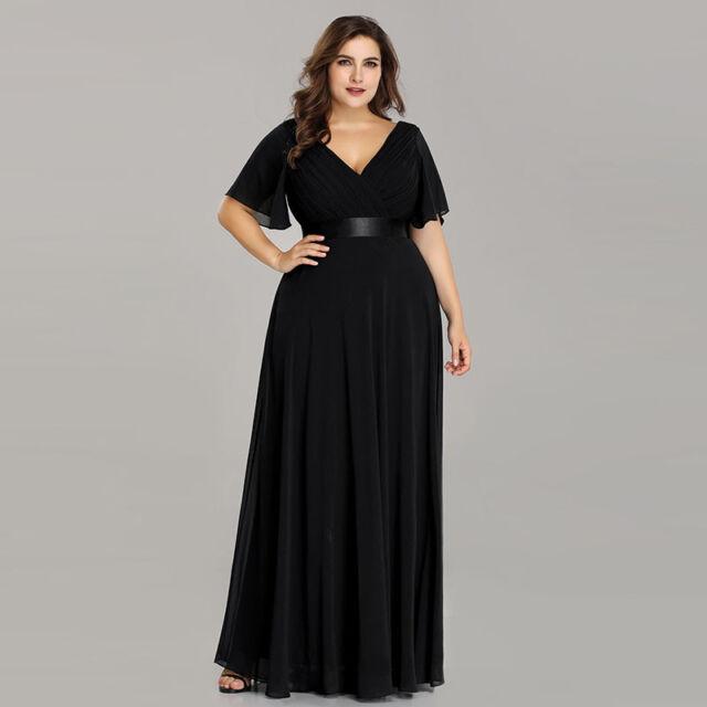 Ever-Pretty Plus Size Evening Dress Long Cap Sleeve Party Dresses Black 09890