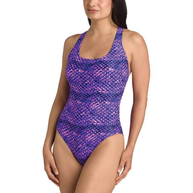 455ce1877b Women's Speedo Ultraback Racerback Athletic Swimsuit Size 10 Purple ...