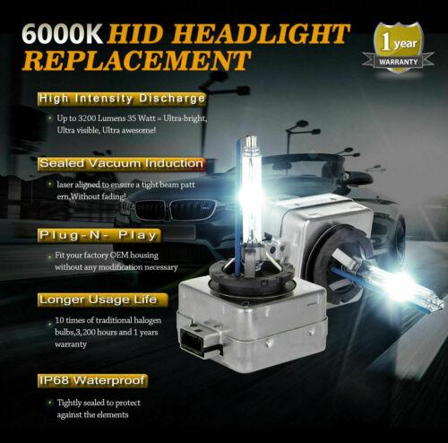 2x D1S HID Xenon Bulbs White 6000K Low Beam Headlights Peugeot 508 SW 2010-on