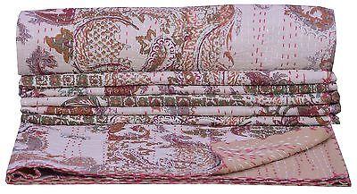 Floral Beige Patchwork Print Kantha Quilt Throw Bedding Bedspread Gudari Ralli
