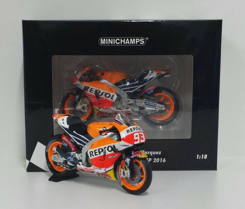 MINICHAMPS MARC MARQUEZ 1 18 MODELLINO HONDA RC213V WORLD CHAMPION MOTOGP 2016