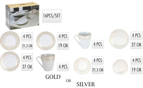 16 Piece White Porcelain Dinner Serving Dinnerware Dining Set Cups Bowls Plates