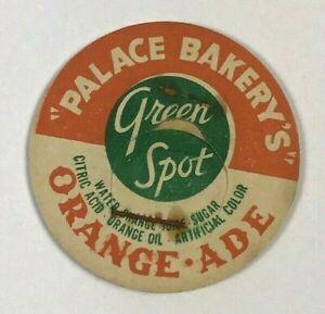 Vintage-Milk-Dairy-Bottle-Cap-Drink-Orange-Ade-Palace-Bakery-039-s-Green-Spot