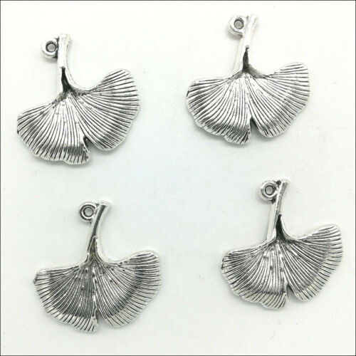 20pcs Ginkgo leaves Antique Silver Charms Pendants DIY Jewelry Findings 25*24mm