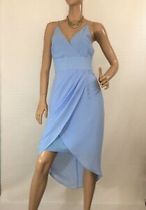 COOPER-ST-SIZE-10-PALE-BLUE-PLEATED-FIX-WRAP-HI-LO-DRESS