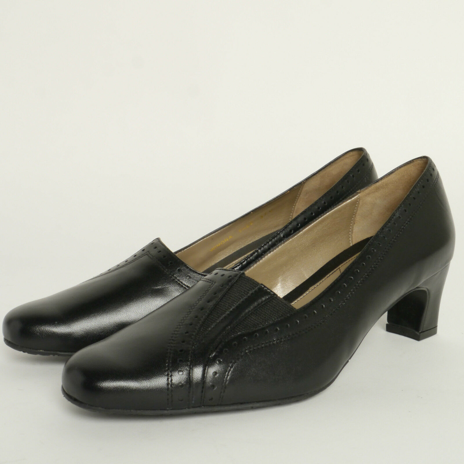 VAN DAL LADIES HEEL EE COURT Schuhe WINONA IN BLACK LEATHER EE HEEL FITTING 421fa0
