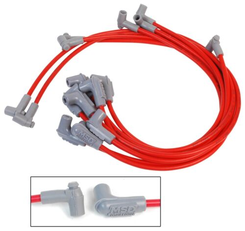 MSD Ignition 35659 8.5 Red Spark Plug Wires Chevy Small Block Over Valve Cover
