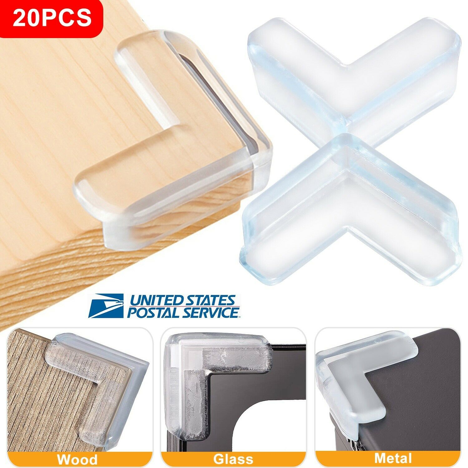 20pcs Soft Clear Table Desk Edge Corner Baby Safety Protector Guard Cover Bumper
