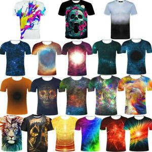 3D Print Casual T-Shirt  Galaxy Lion  Funny Womens//Mens Short Sleeve Graphic Tee