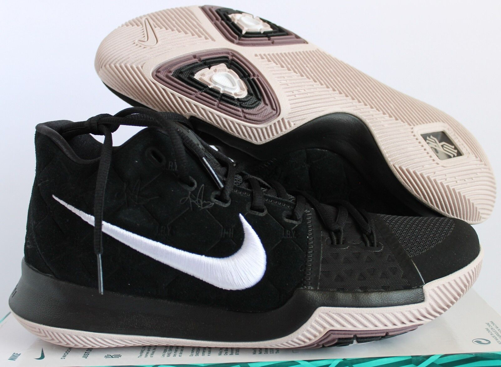 newest a95e5 df19d NIKE KYRIE 3 BLACK WHITE SILT RED MEN S SZ 8.5 8.5 8.5  852395-010