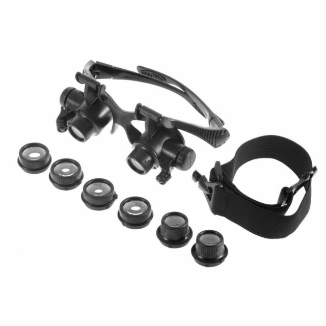 10/15/20/25X LED Glasses Jeweler Magnifier Watch Repair Magnifying Loupe Hot UK