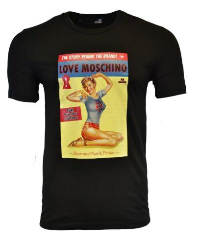 BNWT LOVE MOSCHINO VINTAGE MAGAZINE PRINT T-SHIRT BLACK RARE SLIM FIT