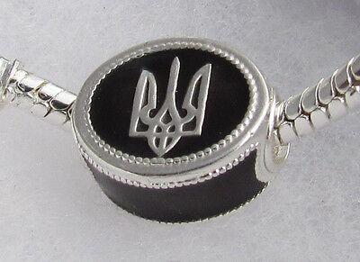 Ukrainian Trident Tryzub Sliding Bead, Bracelet Charm, Black Enemal & S. Silver